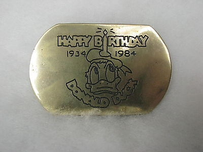 Donald Duck Buckle von Baron Buckles USA 1984 Messing zum 50. B-Day von Donald