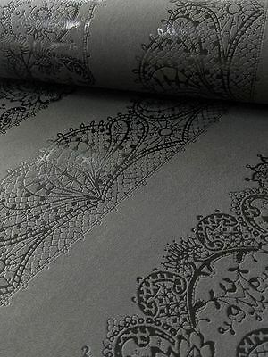 Catherine Lansfield Lace Effect Wallpaper 13379-44 Black Feature Wall P&s