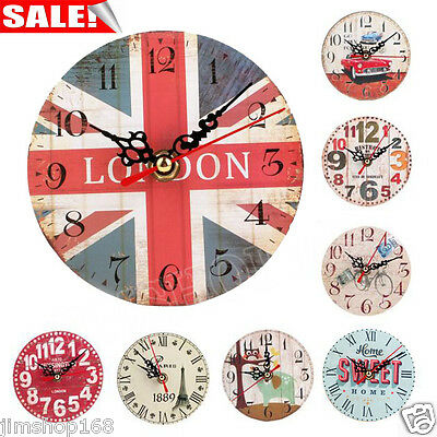 Vintage Style Non-Ticking Antique Wood Wall Clock for Home Kitchen Office New