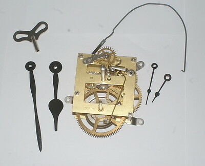 """New 8 day manual wind clock movement hands & winders 13"""" drop clockmakers hobby"""