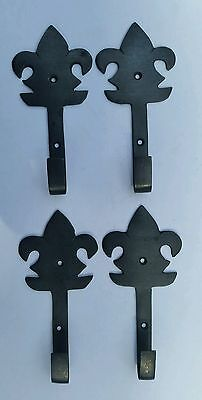 "4 antique brass  French Fleur de Lis single hooks 2 7/8"" #C10"