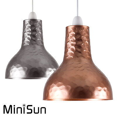 Industrial Loft Style Copper & Chrome Hammered Metal Ceiling Pendant Light Shade
