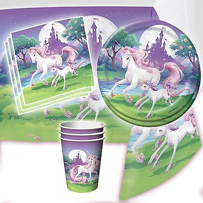Unicorn Fantasy Girls Birthday Party Complete Tableware Pack Kit For 8