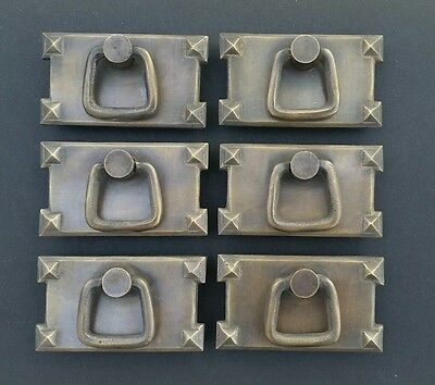 6 Mission Stickley antique style brass horizontal ring handles pulls #H26