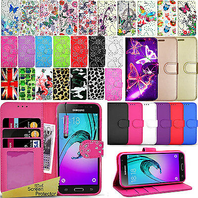 For SAMSUNG GALAXY J3 2016 -Wallet Leather Case Flip Stand Cover + Screen Guard