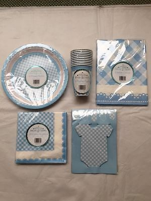 New Special Occasions Baby Shower Party Buffet Accessories 5-Piece Set Blue