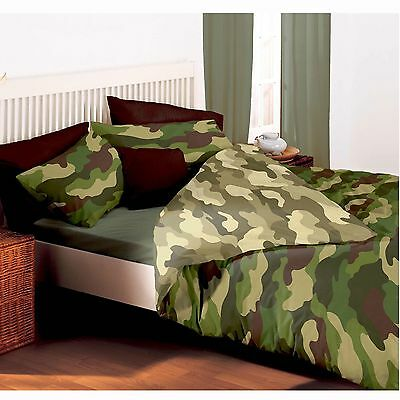 Camouflage Army Double Duvet Cover & Pillowcases Reversible Military Design