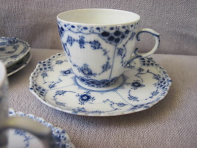 Coffee Cup  &  Saucer   Royal Copenhagen  Blue  Fluted  Full  Lace