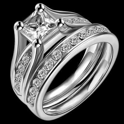 Size K-W Sterling Silver Ring Wedding Engagement Princess Cut Halo Bridal Party