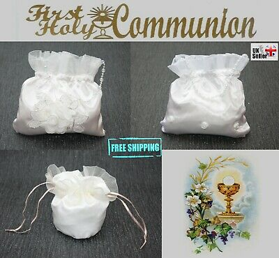 White / Ivory Satin First Holy Communion Baptism Flower Girl Dolly Posy Bag