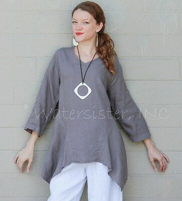 15f52fd9b46 MOSAIC USA 2385 Midweight Linen POLLY PANEL TUNIC Drape-Side Top S M L XL  GREY