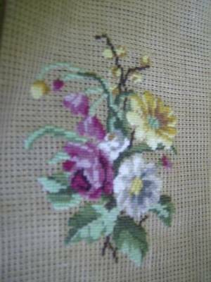 Finished 3 Flowers & Buds Petit Point 3.5 x 4.5 Inches- Done On Larger Canvas