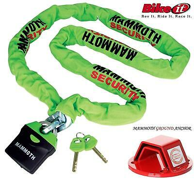 Motorcycle Mammoth Thatcham Ground Anchor + Mammoth Locm009 180Cm Chain Lock