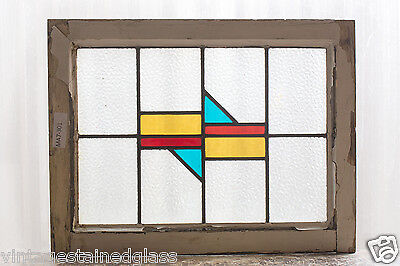 Antique Stained Glass Window Three (3) Color Art Deco                     (2970)