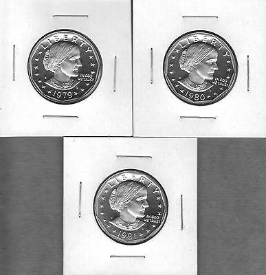 1979-S Ty1, 1980-S And 1981-S Ty1 Cameo  Proof  Anthony Dollars