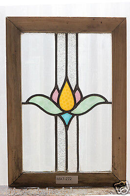 Antique Stained Glass Window Four Color Art Nouveau Tulip                 (2973)