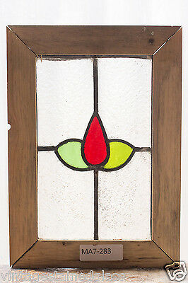 Antique Stained Glass Window Two Color Ruby Tulip                         (2974)