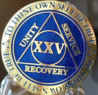 25 Year AA Medallion Blue Gold Plated Alcoholics Anonymous Sobriety Chip Coin