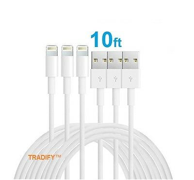 3x 10FT 8 Pin USB Data Sync Charge Charger Cable Cord For iPhone 5 iPhone 6 Plus