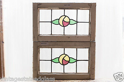 Pair of Antique Stained Glass Windows Three Color Macintosh Roses         (2977)