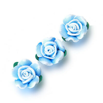 20pcs Hot Sale Sky Blue FIMO Polymer Clay Green Leaf Rose Flower Bead Findings D