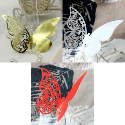 50pcs Laser Cut Butterfly Glass Place Card Wine Cup Decor Wedding