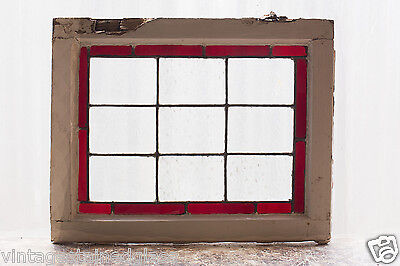 Antique Stained Glass Window Simple Ruby Red Border                       (2982)