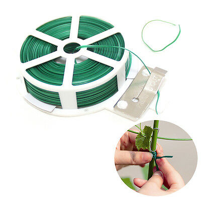 50m Plastic Twist Tie Wire Spool Roll with Cutter for Gardening Plant Green