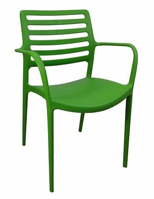 Outdoor CHAIR Stackable Restaurant Cafe Seat Dining Chairs Louise w/ Arms Green