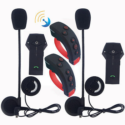 2x Motorcycle Bluetooth Intercom Remote Control Rider Headset Interphone 1000m