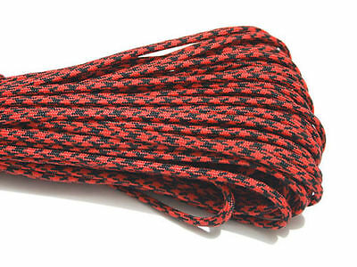 25FT 8m Multi III Stand 7 Cores 550 Paracord Parachute Cord Lanyard #75 RED+BK