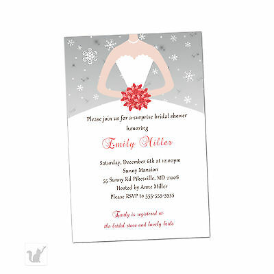 30 bridal shower invitations coral silver winter snowflakes dress a1