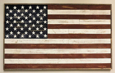LARGE Reclaimed Barn Wood American USA Flag Wall Art Rustic Country Home Decor