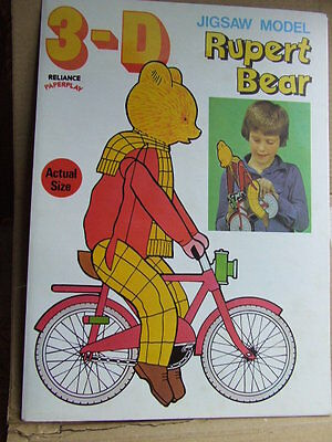 Rupert Bear 3-D Jigsaw Model. 1977. Scarce Unused Vintage Rupert on Bicycle