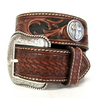 Nocona Brown Tooled LEATHER Silver Buckle CROSS Conch MAN WESTERN BELT N24840 16