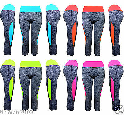 New Ladies Fitness Yoga Running Capri 3/4 Leggings Gym Exercise Sports Pants