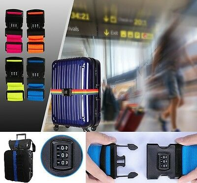 Adjustable Suitcase Tri-Combo Combination Luggage strap Travel Baggage Belt Lock