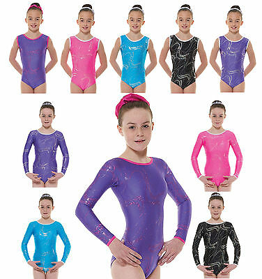 Gymnastics Leotards Girls Gym Leotard Lycra Metallic Foil Pink Black Purple UK