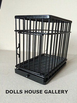 Black Metal Dog / Pet Cage With Opening Door, Doll House Miniature