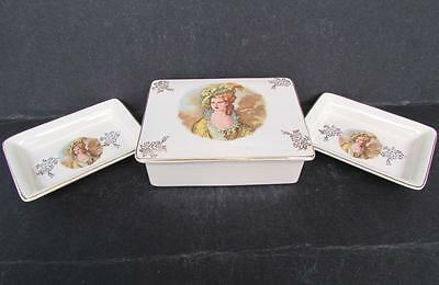 Vtg Lancaster Sandland / England Candy Box W/ Two Butter Dishes