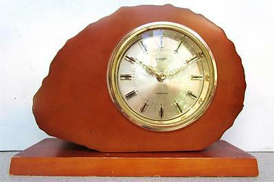"""""""CITIZEN"""" TRANSISTOR DESK or MANTEL CLOCK IN 2-3/8"""" THICK WOODEN BLOCK"""