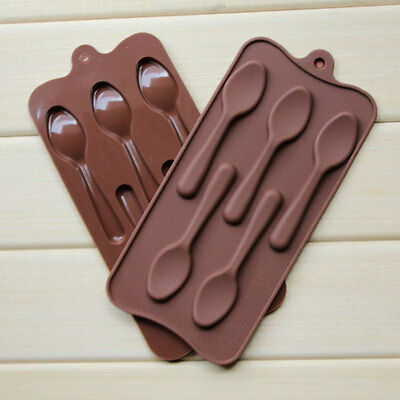 Silicone 5 Spoons Cake Chocolate Muffin Cookie Baking Tray Soap Ice Cube Mould