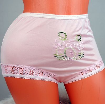 Vintage Embroidered HIGH cut sissy nylon lace side XS S M brief Granny panties