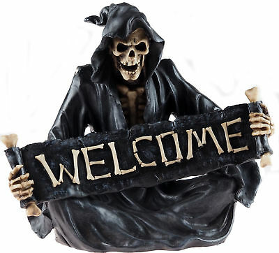 Large 31cm Death Reaper Skeleton Welcome Figurine Ornament