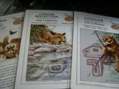 Sue Coleman Artwork Cougars Native Art Cross Stitch Chart Your Choice