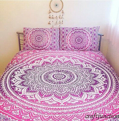 Ombre Mandala Indian Duvet Doona Cover Throw Cotton Quilt Blanket & Pillow Cover