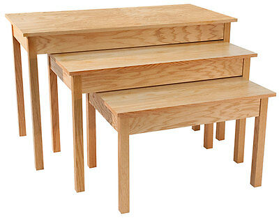Nesting Tables Retail Display Furniture Fixture Knockdown Oak Set Of 3 NEW
