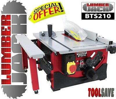 "Lumberjack 8"" 210mm Bench Top Table Saw with Sliding Side Extension & Blade 240V"