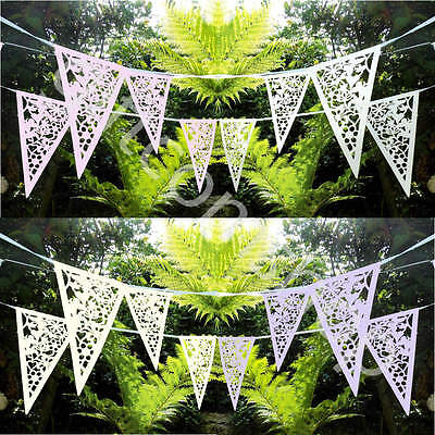 8 Metres White Lace Bunting Wedding Heart Bunting Garland Party Floral Bunting