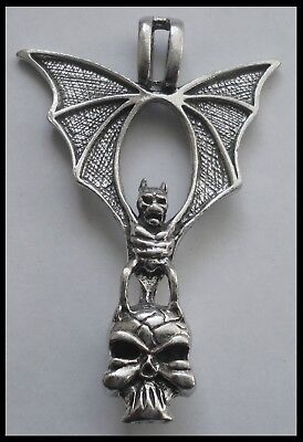 PEWTER CHARM #1173 BAT & SKULL (64mm x 43mm) 1 bail pendant WINGS OUT